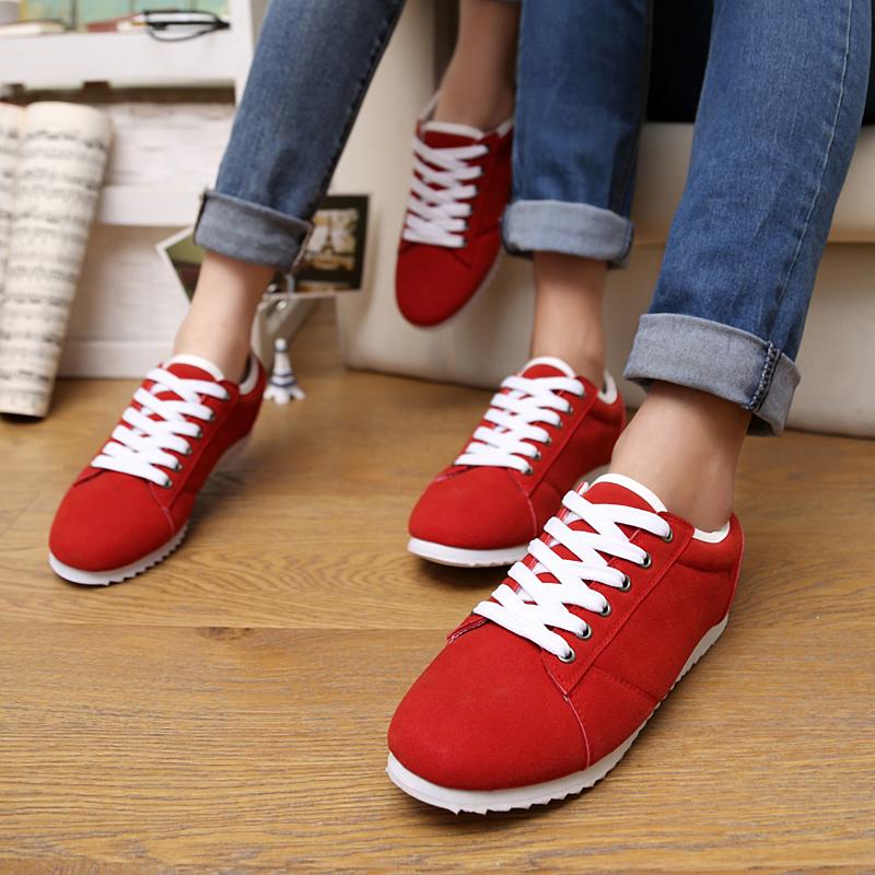 Демисезонные ботинки весной 2014 обуви любителей диких сладкий туфли простой корейских мужчин и женщин моды сладкий тенденция обувь Шнурок