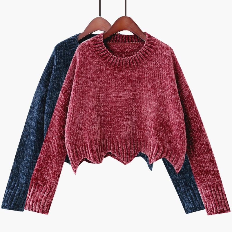 2017冬季新款韩版圆领波浪边打底针织衫珊瑚绒纯色时尚短款毛衣女