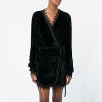 BOTHYOUNG秋冬季女士性感睡袍短款浴袍日式和服浴衣长袖丝绒睡衣