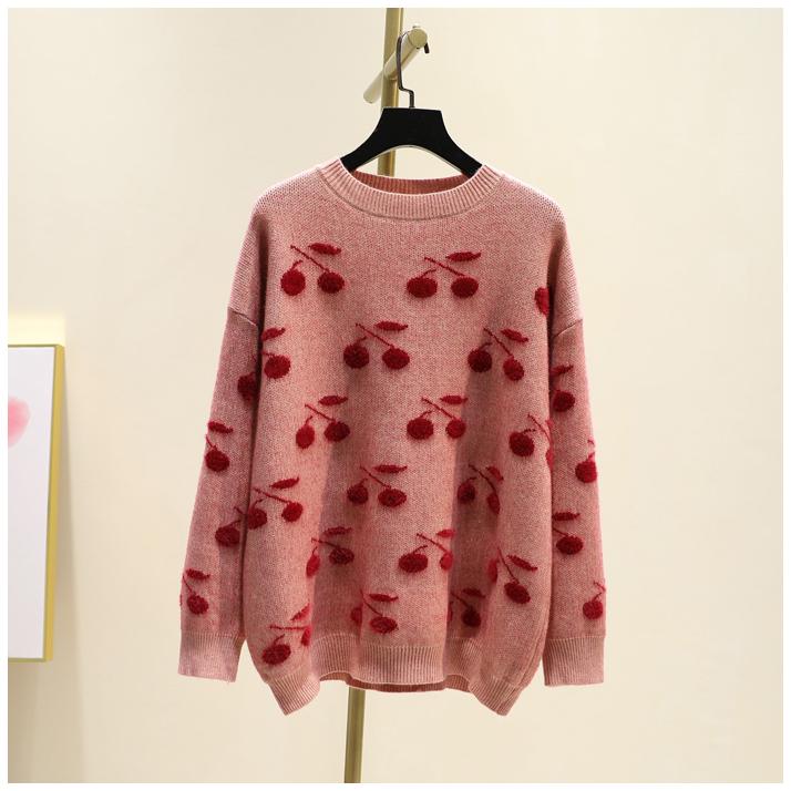 甜美樱桃提花仿水貂绒毛衣女韩版冬季新品时尚圆领套头宽松针织衫