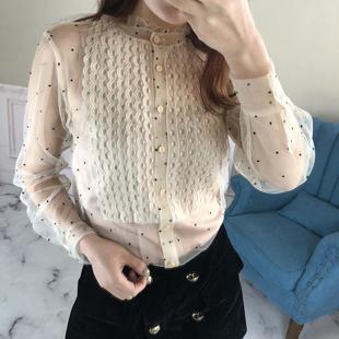 韩欧时力格2019年春吊带透视波点蕾丝雪纺衬衫上衣1ZY