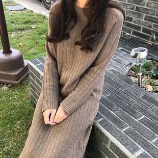 2018秋冬季打底毛衣裙过膝针织连衣裙女长款加厚宽松毛衣