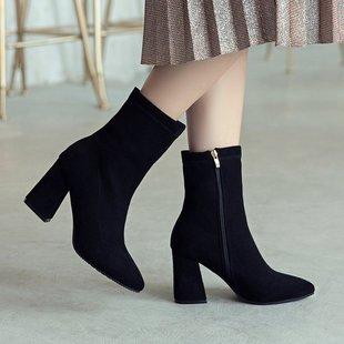 网红女鞋靴子2018秋冬季百搭尖头绒面短靴粗跟高跟马丁靴