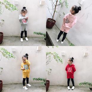 女童秋季套装2018童儿童字母连帽卫衣裙裤两件套毛圈运动套装