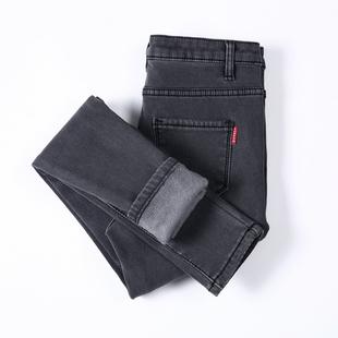 加绒高腰牛仔裤女冬季2018显瘦加厚外穿大码保暖小脚长款