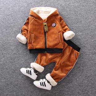 宝宝秋冬装加绒卫衣套装0一1-3岁男童加厚两件套婴儿衣服洋气