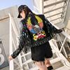 泰国潮牌老鹰流苏短款皮衣女长袖秋个性街头风帅气机车短外套