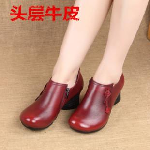 中年单鞋女复古中跟深口女鞋粗跟真皮舒适时尚春秋妈妈小皮鞋