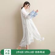 广林 2018原创夏季宽松显瘦大码复古女装长款立领雪纺风衣亚博app官方下载