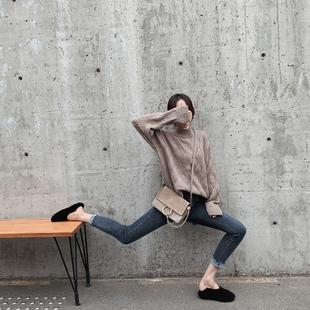 裤子女秋冬2018毛边高腰牛仔裤紧身小脚裤百搭铅笔裤长裤