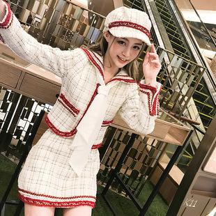 港味2018秋冬女时髦气质优雅减龄小香风海军领外套高腰显瘦半身裙