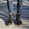 冬季真皮马丁靴男潮中帮短靴子英伦高帮棉鞋男加绒雪地工装靴军靴
