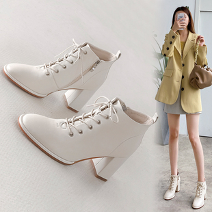 2020秋冬季复古真皮粗跟短靴系带马丁靴高跟鞋女鞋子裸靴皮靴
