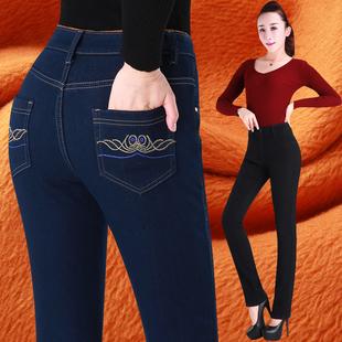 高腰加绒加厚牛仔裤女式黑色小直筒妈妈弹力中年宽松保暖女裤