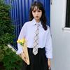 衬衫送领带秋装学院风时尚宽松百搭长袖职业小清新上衣女