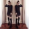 长袖t恤裙女中长款蕾丝加厚针织衫秋冬内搭保暖打底裙子