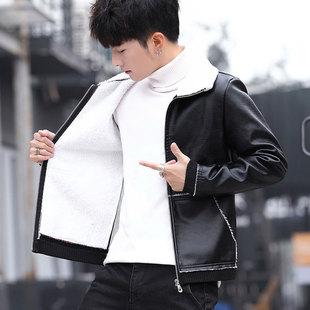 男士外套男春秋季潮流冬季加绒棉衣服男皮衣夹克男装