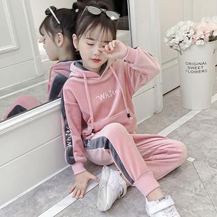 童装女童秋冬套装2018加绒加厚女洋气儿童金丝绒卫衣两件套潮