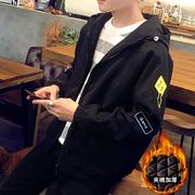 男士夹克加厚外套宽松外衣潮牌工装学生秋冬季上衣棒球服