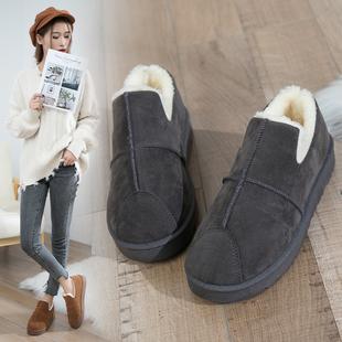 2018冬季冬鞋保暖加绒百搭雪地靴女短筒短靴平底学生棉鞋