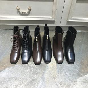 2018秋冬皮面加绒英伦风百搭系带马丁靴骑士靴复古平底方头短靴女