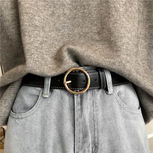 韩国复古圆扣皮带女宽简约百搭针扣腰带学生装饰牛仔裤带
