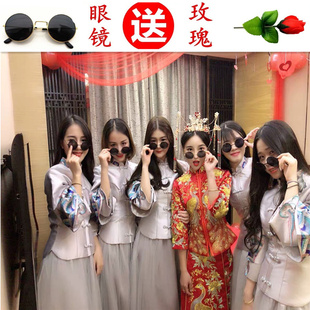 中式伴娘服2018秋冬立领粉色伴娘团新娘结婚长款姐妹裙显瘦女