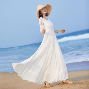 2020女气质长裙大摆长款连衣裙夏修身白色裙子蕾丝拼接沙滩裙