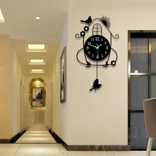钟表挂钟客厅创意简约欧式现代田园时钟挂表卧室静音夜光石英钟大