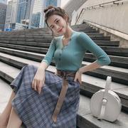 女生秋季套装女针织两件套长袖韩版2018时尚学院风小清连衣裙