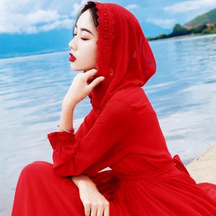 秋季旅拍沙漠长裙红色连帽长袖大摆雪纺仙女连衣裙海边度假沙滩裙