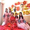 中式伴娘服2018秋季立领粉色伴娘团新娘结婚长款姐妹裙显瘦女