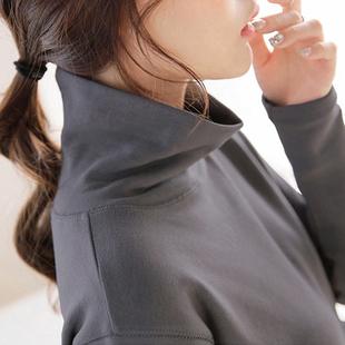 加厚纯色棉高领打底衫秋冬中长款t恤女长袖宽松显瘦大码百搭上衣