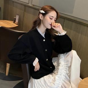 2018冬季chic百搭蕾丝拼接复古气质长袖开衫外套上衣女装