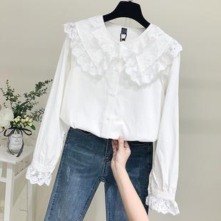 白衬衫女2019春季长袖宽松蕾丝娃娃领棉麻衬衣娃娃衫上衣