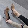 网红女鞋2018高跟鞋细跟猫跟尖头秋冬鞋女中跟加绒棉鞋