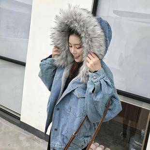 牛仔外套加绒加厚女冬2018宽松保暖短款超大毛领牛仔棉服