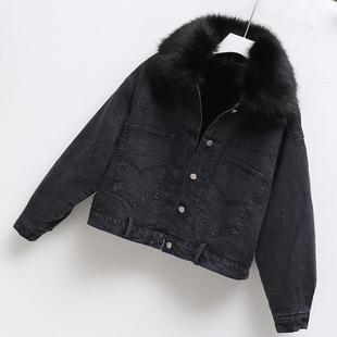 冬季牛仔外套女加绒加厚春2018百搭大码潮流宽松短款黑色