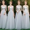 2018冬季韩式蕾丝伴娘服长款灰色伴娘裙子女姐妹团婚礼晚礼服
