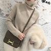 秋冬高领羊毛衫女毛衣宽松短款加厚慵懒套头针织外穿打底