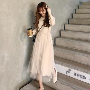 秋冬女装气质纯色甜美拼接网纱中长款打底连衣裙长裙学生裙子