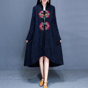 秋冬复古文艺女装民族风刺绣盘扣加绒中长款提花长袖风衣外套