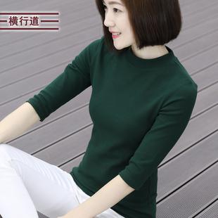 2019春装女装半高领上衣服打底衫春款七分袖中袖女士T恤纯色