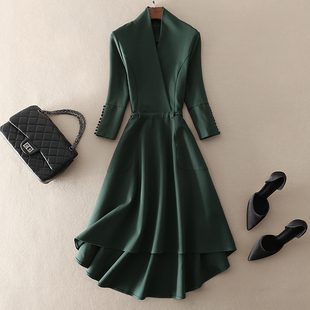 中长款绿色大摆七分袖连衣裙欧美大牌2019春夏季气质女装