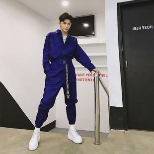 韩国ins超火男士一套衣服青年潮男个性腰带收腰显瘦工装连体衣裤