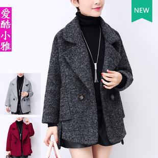 小个子毛呢外套女短款2018冬季大码加厚宽松斗篷呢子大衣