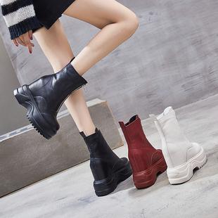女鞋2018短靴女潮厚底马丁靴百搭内增高靴子12cm高跟坡跟秋冬