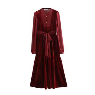 2018秋季复古红色显瘦长袖系腰带天鹅绒中长款女士连衣裙