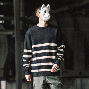 日系男装秋季撞色条纹圆领套头毛衣男宽松针织衫男潮