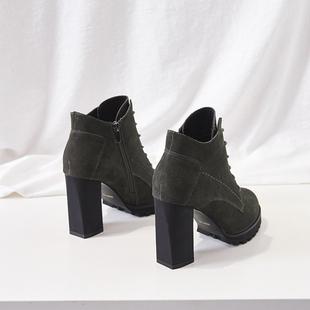 网红齐踝短靴女春秋2018高跟鞋冬粗跟裸靴子马丁靴英伦风真皮